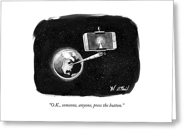 A Cell Phone Camera Is Held In Outer Space Greeting Card