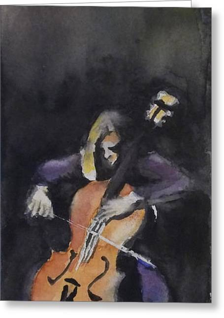 A Cellist Greeting Card by Yoshiko Mishina