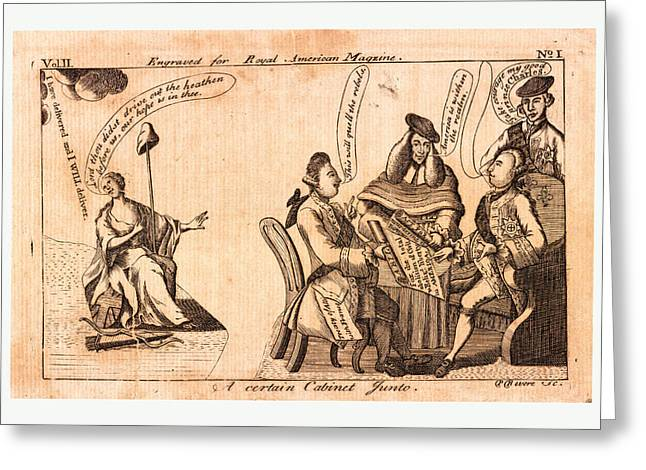 A Certain Cabinet Junto, En Sanguine Engraving 1775 Greeting Card by English School