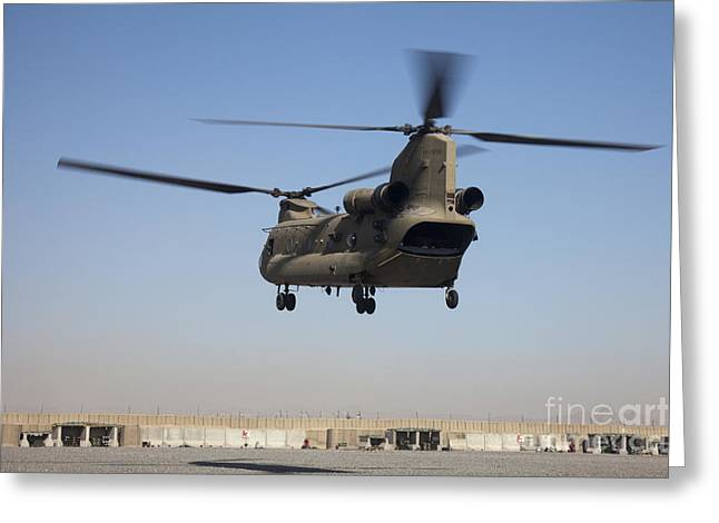 A Ch-47 Chinook Helicopter Prepare Greeting Card by Stocktrek Images