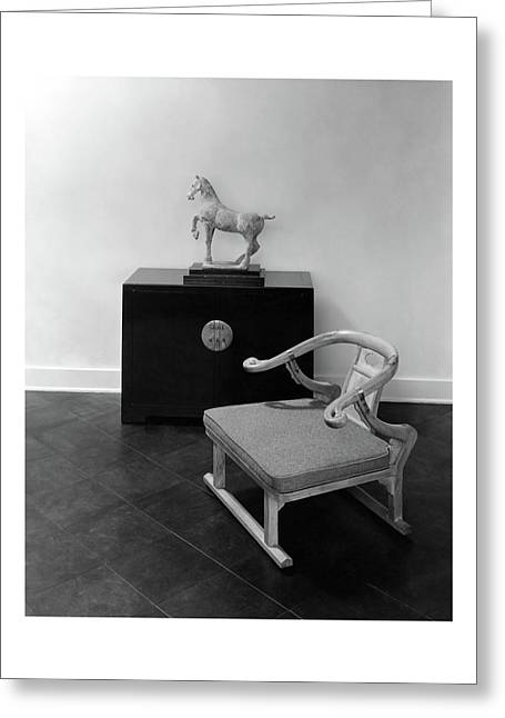 A Chair, Bedside Cabinet And Sculpture Of A Horse Greeting Card