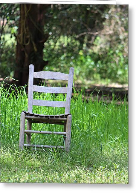 A Chair In The Grass Greeting Card by Lynn Jordan