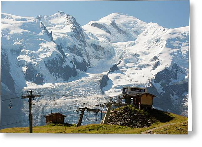 A Chair Lift In Front Of Mont Blanc Greeting Card