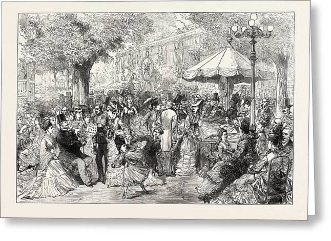A Charity Fete In The Champs Elysees, Paris Greeting Card