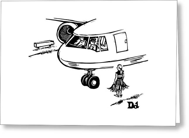 A Cheerleader Standing On The Tarmac Addresses Greeting Card by Drew Dernavich