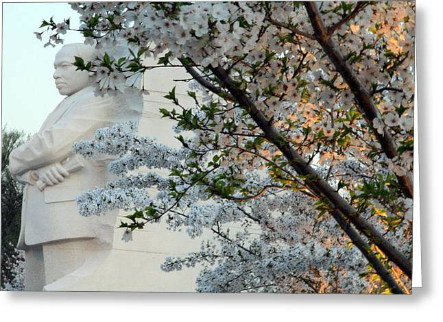 Greeting Card featuring the photograph A Cherry Blossomed Martin Luther King by Cora Wandel