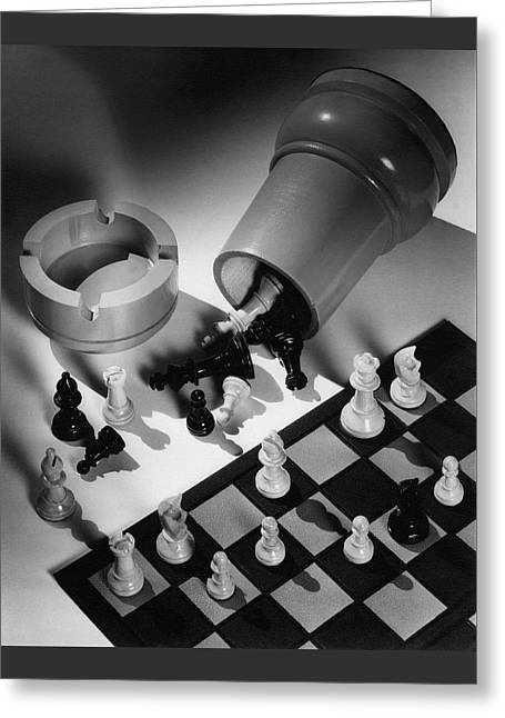 A Chess Set Greeting Card by Maurice Seymour