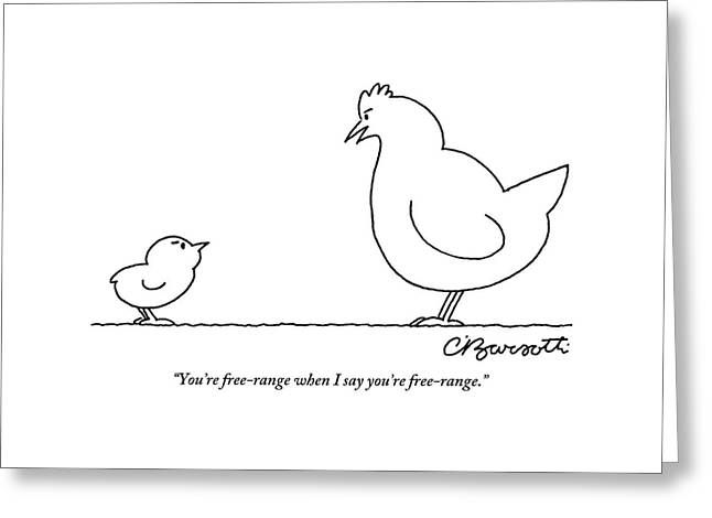 A Chicken Tells Her Baby Chick Greeting Card by Charles Barsotti