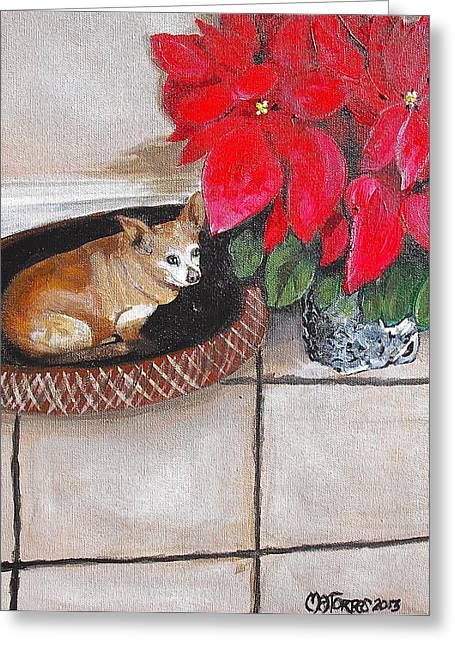 A Chihuahua Christmas Greeting Card by Melissa Torres