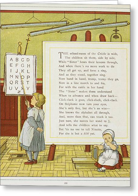 A Child Learning The Alphabet Greeting Card by British Library