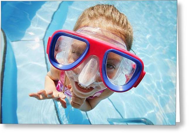 A Child With Goggles Greeting Card