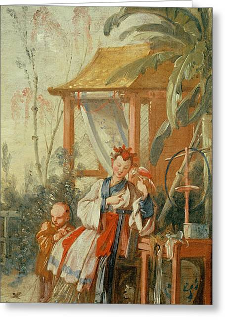A Chinese Garden, Study For A Tapestry Cartoon, C.1742 Oil On Canvas Greeting Card