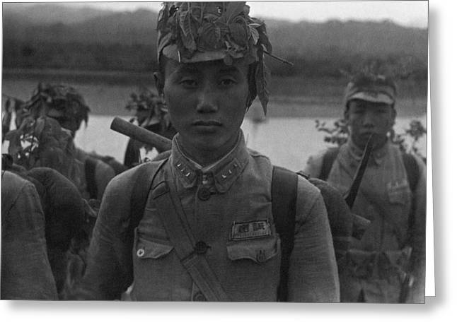A Chinese Soldier At A Demonstration At Pihu Greeting Card by Cecil Beaton