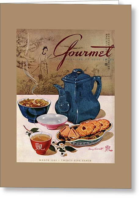 A Chinese Tea Pot With Tea And Cookies Greeting Card by Henry Stahlhut