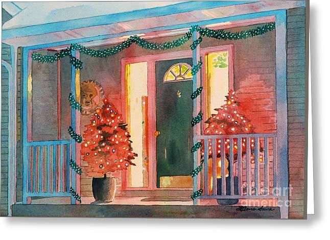A Christmas At Home, House Prints, Porch Prints, House Paintings, House Prints, Christmas Paintings, Greeting Card by LeAnne Sowa