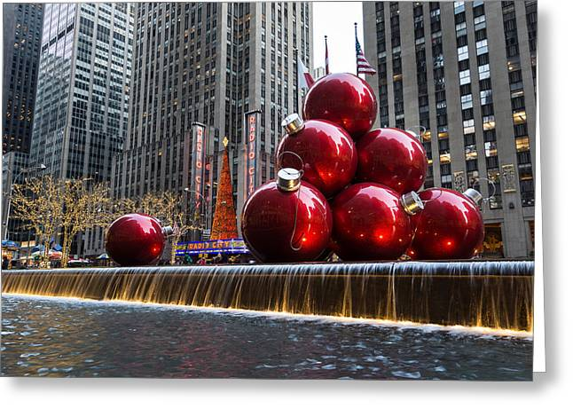 A Christmas Card From New York City - Radio City Music Hall And The Giant Red Balls Greeting Card