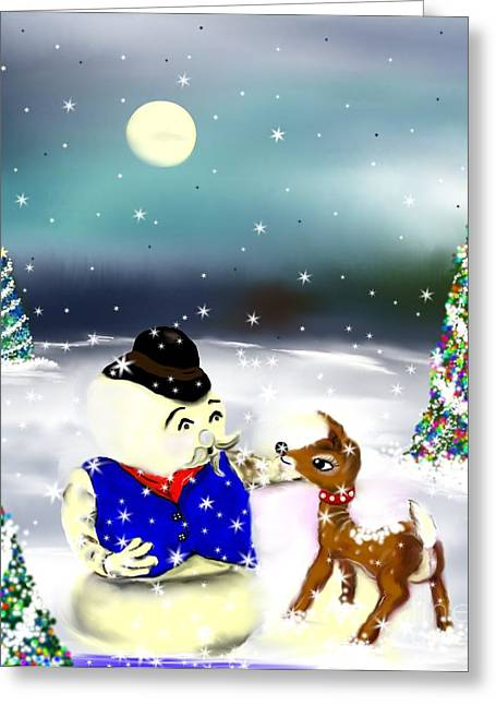 Greeting Card featuring the painting A Christmas Night by Lori  Lovetere