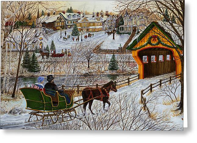 A Christmas Sleigh Ride Greeting Card by Doug Kreuger