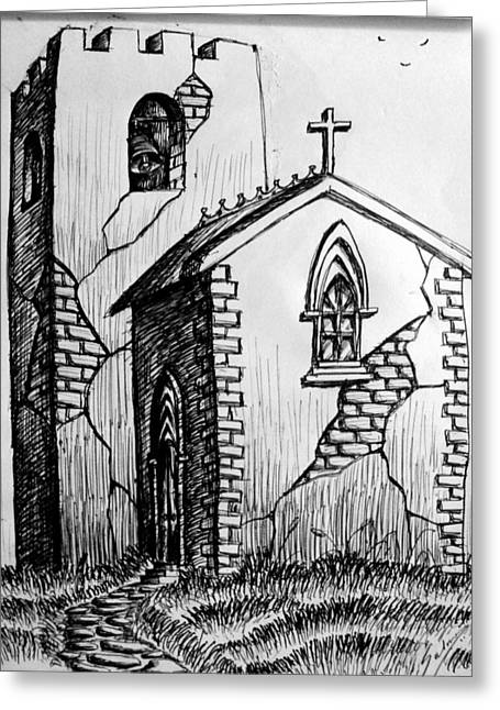 Old Church Greeting Card by Salman Ravish