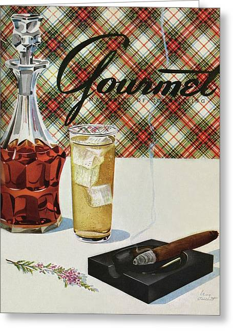 A Cigar In An Ashtray Beside A Drink And Decanter Greeting Card by Henry Stahlhut