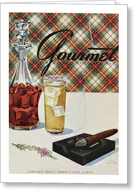 A Cigar In An Ashtray Beside A Drink And Decanter Greeting Card