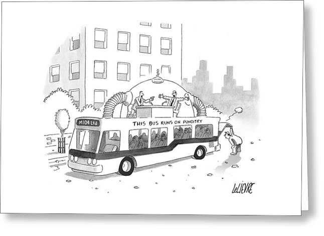 A City Bus Is Seen With A Rooftop Bubble Greeting Card