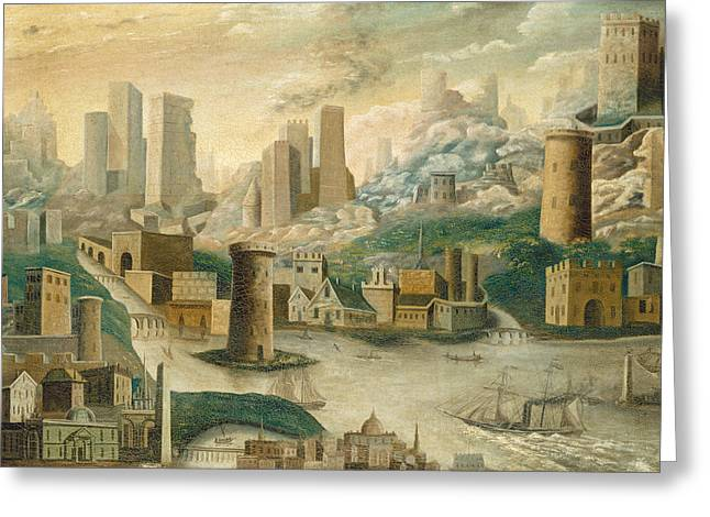 A City Of Fantasy Greeting Card by Celestial Images