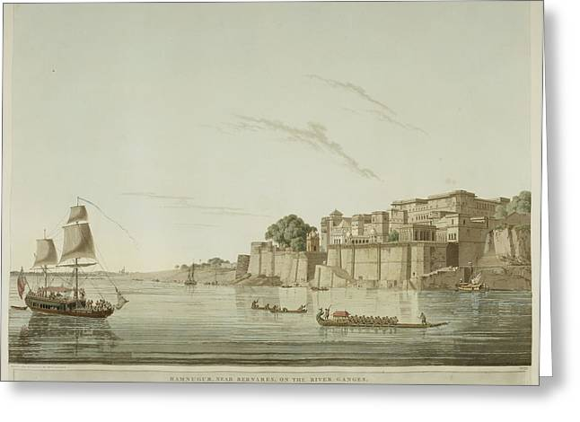 A City On The River Ganges. Greeting Card