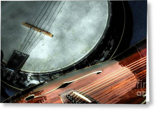 A Classic Pairing Digital Guitar And Banjo Art By Steven Langston Greeting Card by Steven Lebron Langston