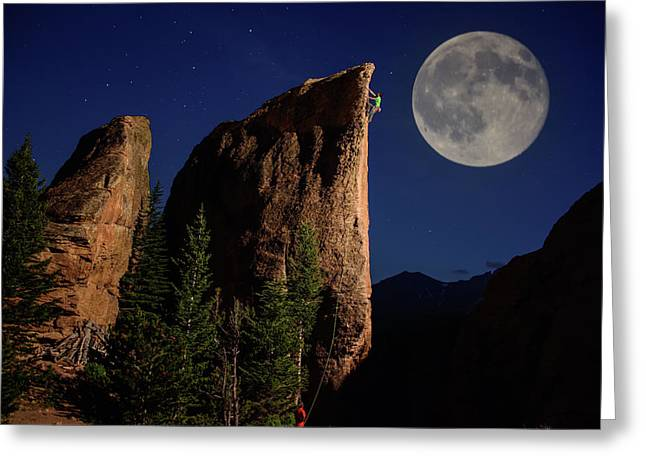 A Climber Ascends A Rock Formation Greeting Card by Keith Ladzinski