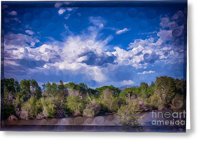 A Cloudy Afternoon Abstract Landscape Painting Greeting Card by Omaste Witkowski