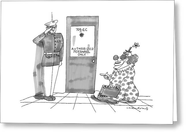 A Clown Is Seen Walking Into A Door Which Says Greeting Card