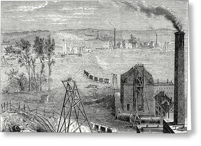 A Coal Mine In Newcastle With Wagons Drawn By Horses Greeting Card