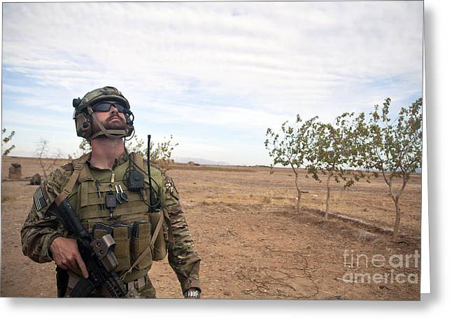 A Coalition Force Member Looks For Air Greeting Card by Stocktrek Images