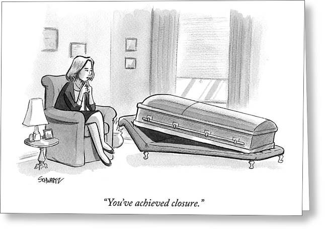 A Coffin Lays On An Analyst's Couch Greeting Card