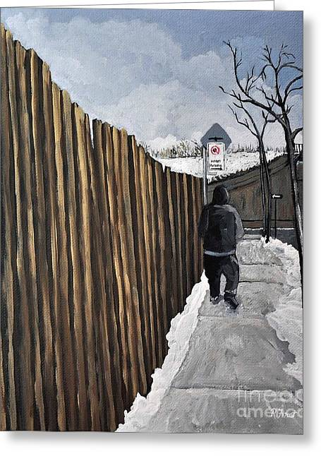 A Cold Day In Pointe St. Charles Greeting Card by Reb Frost