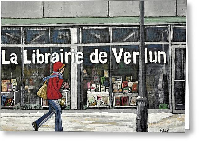 A Cold Day In Verdun  Librairie De Verdun Greeting Card by Reb Frost
