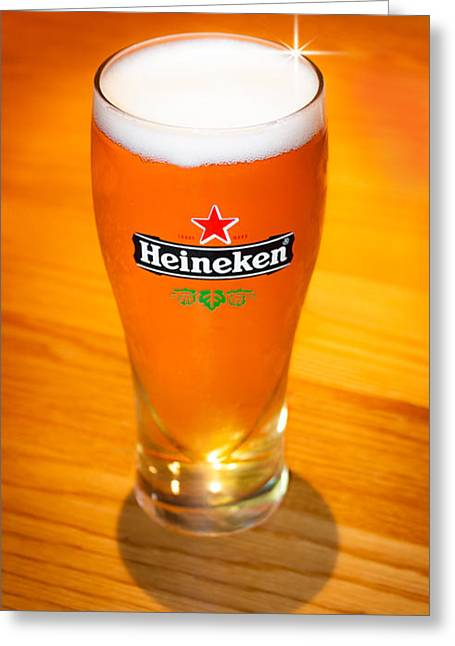 A Cold Refreshing Pint Of Heineken Lager Greeting Card