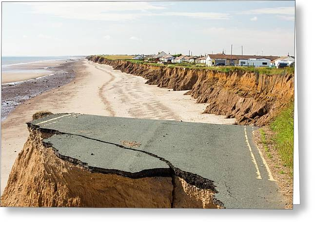 A Collapsed Coastal Road Greeting Card