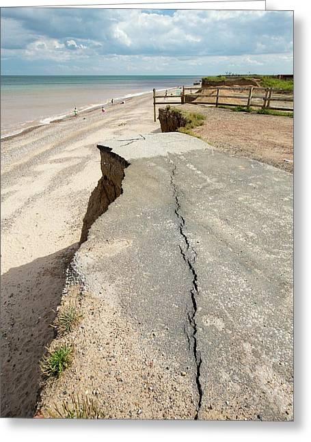 A Collapsed Coastal Road At Easington Greeting Card