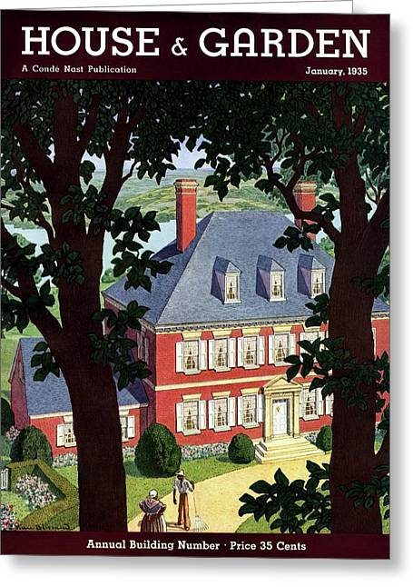 A Colonial Manor House Greeting Card by Pierre Brissaud