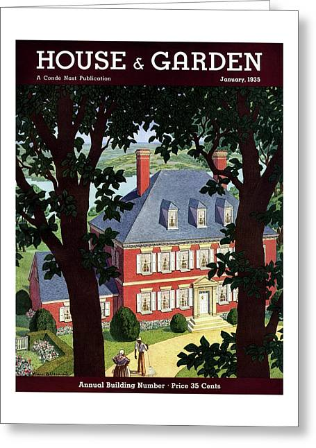 A Colonial Manor House Greeting Card