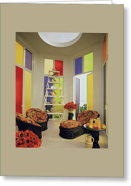A Colorful Living Room Greeting Card by Wiliam Grigsby