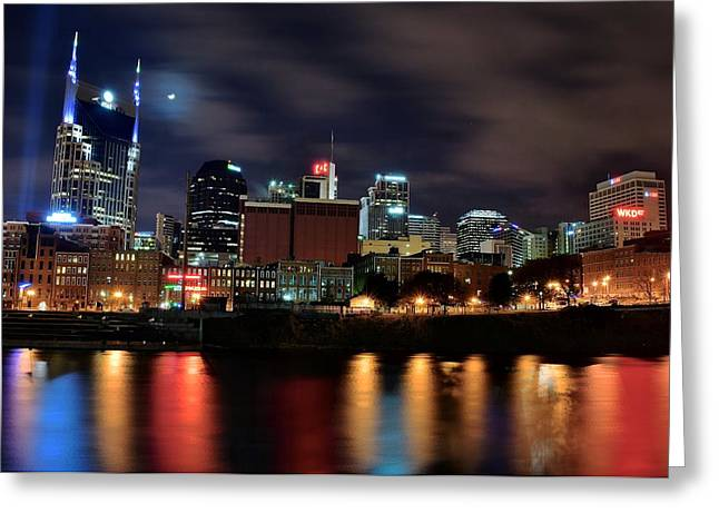 A Colorful Night In Nashville Greeting Card by Frozen in Time Fine Art Photography