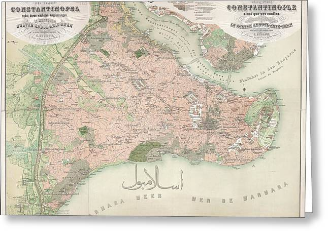 A Colour Map Of Constantinople Greeting Card by British Library