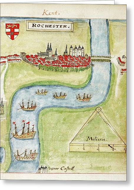 A Coloured Plan Of Rochester Greeting Card by British Library