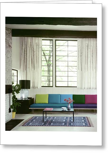 A Colourful Living Room Greeting Card