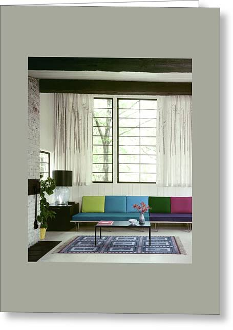 A Colourful Living Room Greeting Card by Wiliam Grigsby