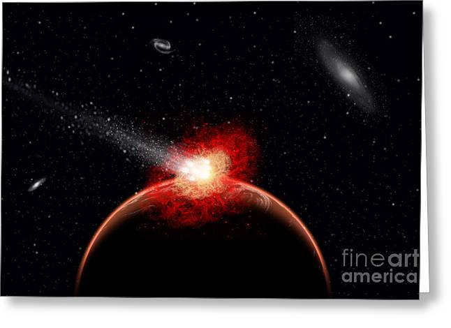 A Comet Hitting An Alien Planet Greeting Card by Mark Stevenson