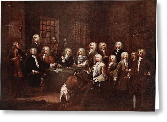 A Committee Of The House Of Commons Greeting Card by William Hogarth